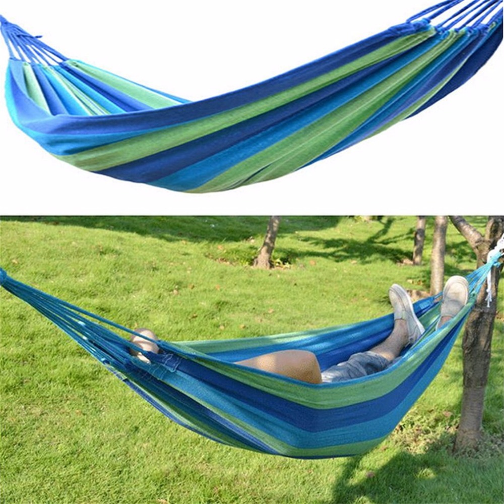 Portable Nylon Fabric Rope Outdoor Swing Garden Camping Hanging Sleeping Hammock Canvas Bed With Same Color Scheme Sack Blue