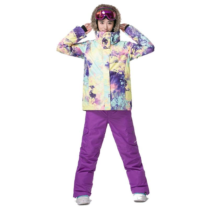 Gsou Snow Windproof Warm Women Ski Suit Waterproof Snowboard Winter Sport full suit climbing Jacket and pants 1409-001 brand gsou snow technology fabrics women ski suit snowboarding ski jacket women skiing jacket suit jaquetas feminina girls ski