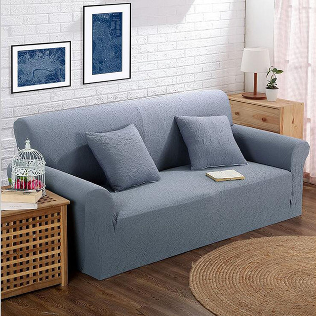 Simple Style All Inclusive Sofa Cover Double Seat Fabric Leather