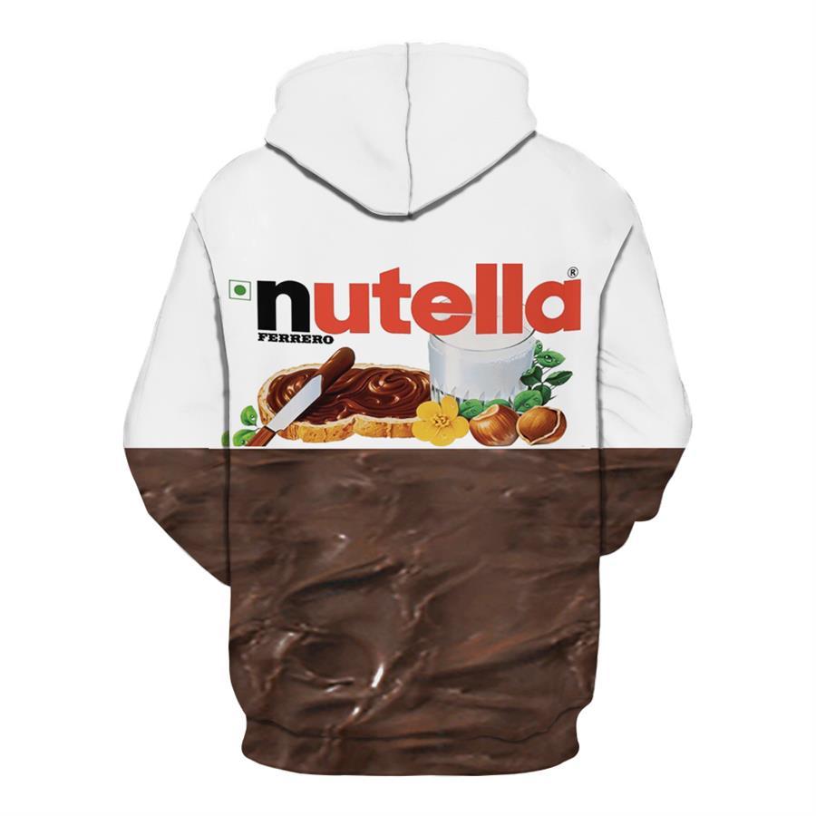 Fashion 3D Nutella Chocolate Graphics Print Sweater Sweatshirt Pullover Hoodies
