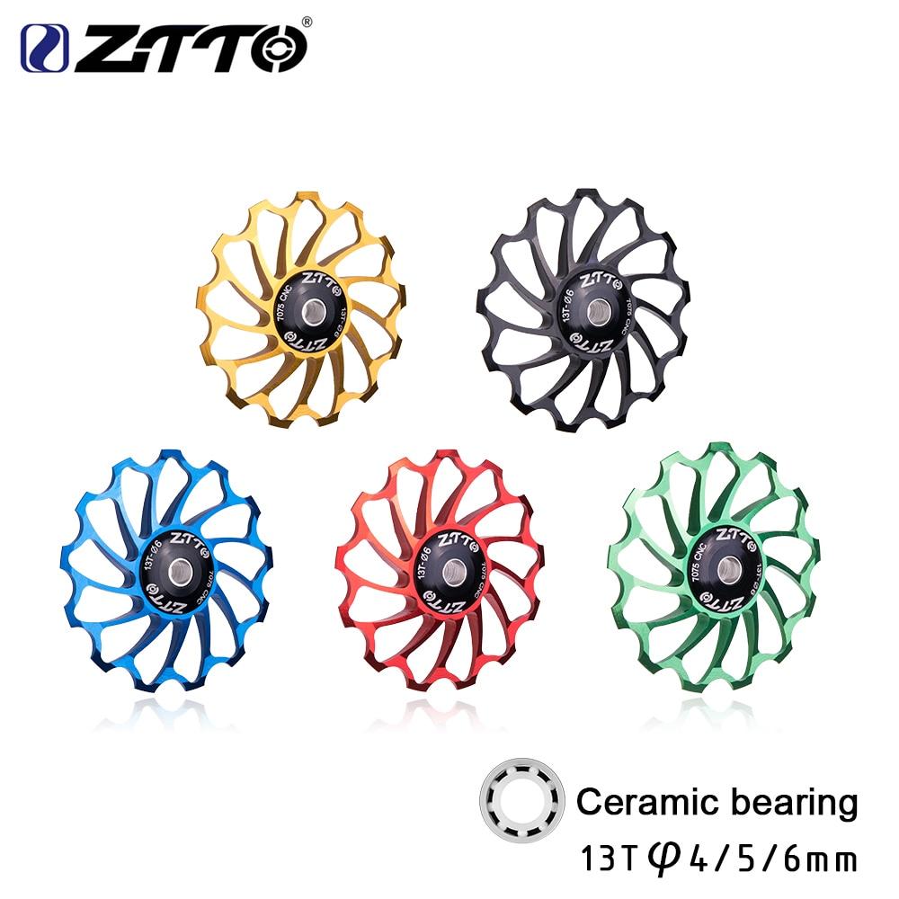 ZTTO 13T AL7075 CNC Bicycle Rear Derailleur Jockey Wheel Ceramic bearing Pulley MTB Road Bike Guide Roller Idler 4mm 5mm 6mm футляр для карточек tirelli классик цвет черный 15 313 07