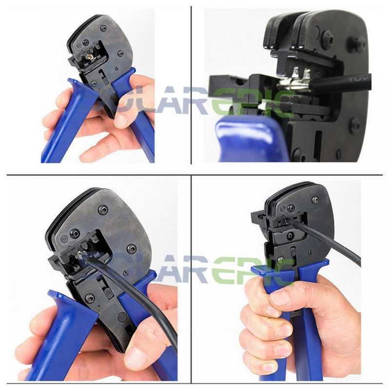 כבל פוטו מרתק פלייר יד Crimping כלים שמש מערכת כלים שמש פנל כבל מחבר כלי