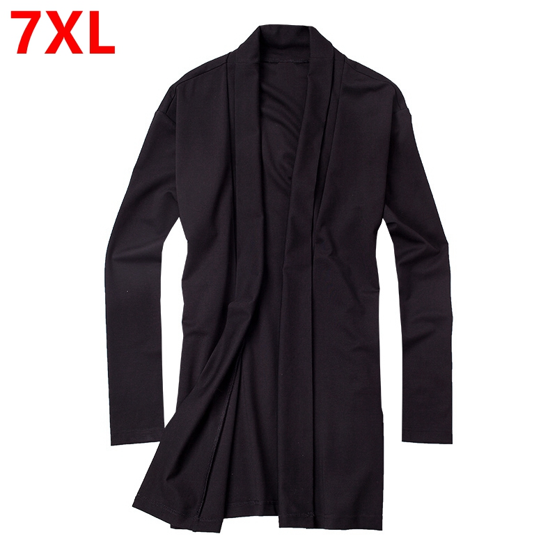 Big Size Mens XL pure fat slim windbreaker tide long sleeved knit cardigan collar men jacket Open stitch cotton casual   Trench