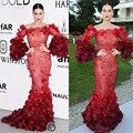 Katy Perry Red Wine 2016 Cannes Festiva Celebridade Vestidos Colher Decote Lace Red Wine Sereia Longos Vestidos No Tapete Vermelho