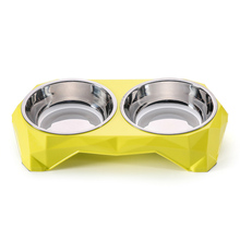 Dog Bowl Feeding Pet Feeder Watering Feeding Bowl Dog Supplies Cat Dish Plastic Stainless Snack Bowl Petshop