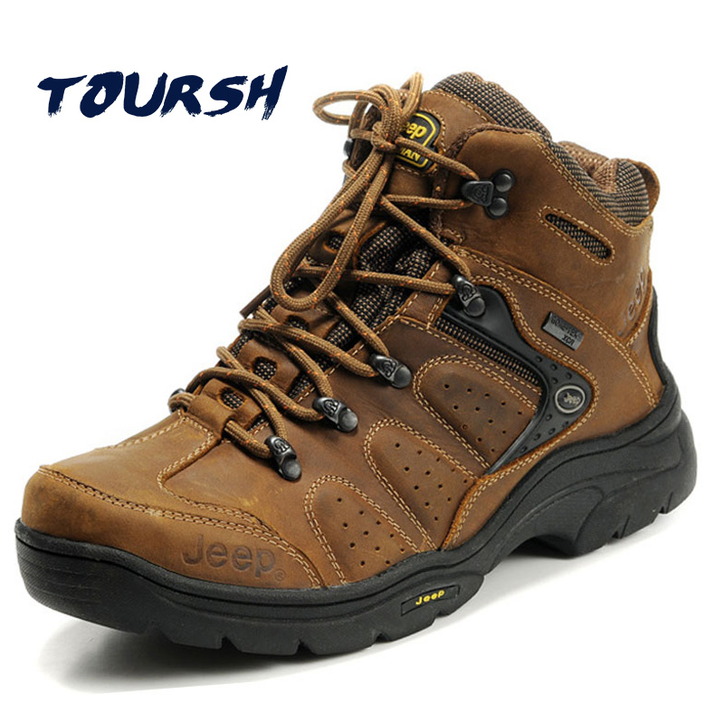 TOURSH Genuine Leather Hiking Boots Outdoor Sports Hiking Shoes Men Mountain Sneakers Men Trekking Shoes Men Buty Sportowe Khaki peak sport men outdoor bas basketball shoes medium cut breathable comfortable revolve tech sneakers athletic training boots