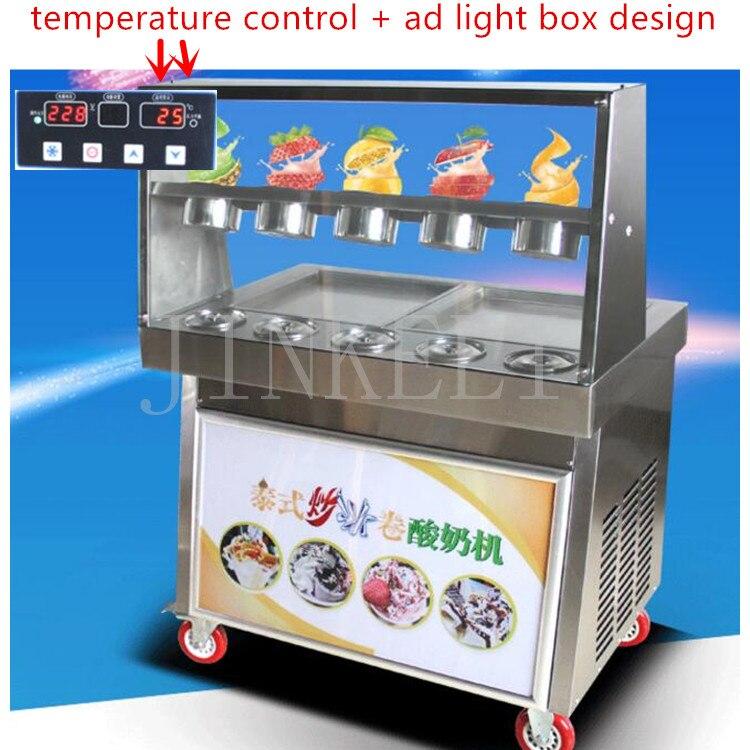 18 Новое поступление AD Световой короб дизайн слякоть тайский льда granizadora жареные льда Пан машина мягкий жесткий Мороженое машина продажа