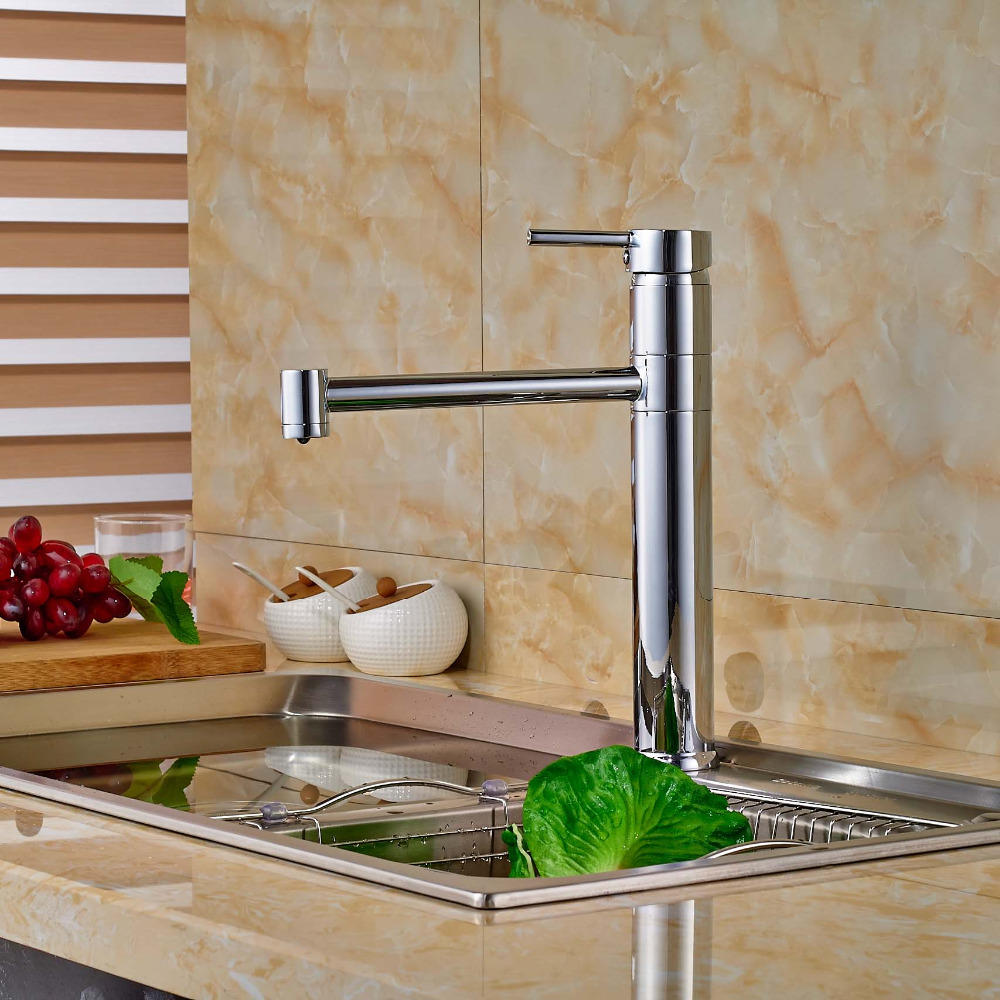 все цены на Chrome Brass Deck Mount Hot Cold Water Rotation Kitchen Sink Faucet Single Handle Mixer Taps