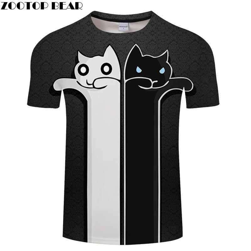 3D мужская футболка с принтом кота повседневная Летняя коротким рукавом