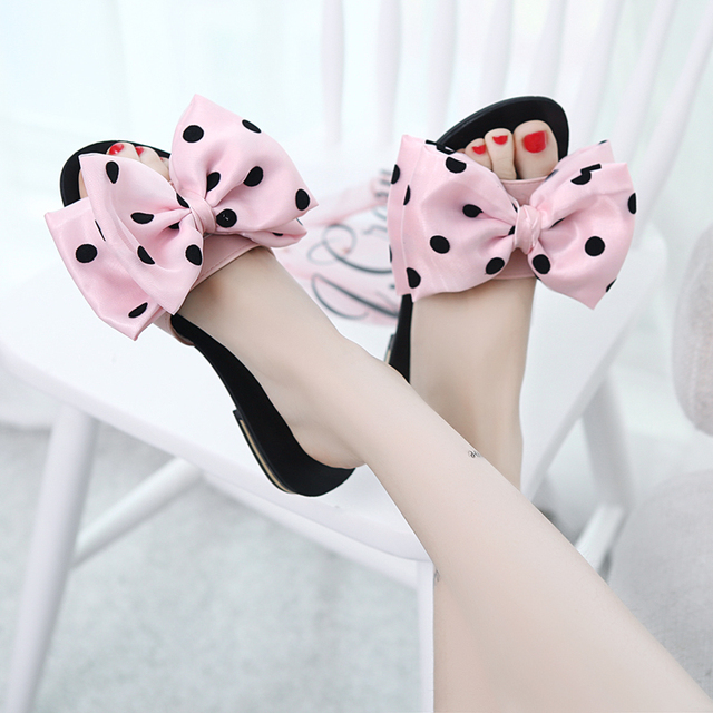 55f45d884 Girls pink slippers famous design polka dot bow sandals big bow-knot ladies  shoes flipflops woman spring summer beach sandals