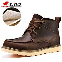 Z. Suo/мужские ботинки из натуральной кожи с плюшевой подкладкой; Высококачественная зимняя обувь на шнуровке; мужские ботинки; мужские теплы...
