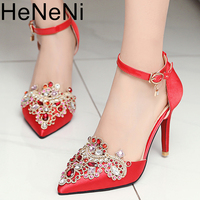 Red Shoes Satin Wedding Pointed Toe 7cm Silk High Heels Stiletto 33 Flower Pumps Ladies Colourful Embroidery Wedding Party Shoes