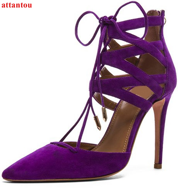 Здесь продается  Summer Purple Suede Leather Woman sandals cut outs design ankle straped Pointed Toe female dress shoes cover heel high heels  Обувь