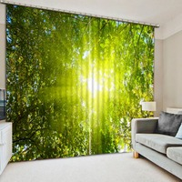 Curtains Living Room Window Sunlight Green Forest Custom Curtain Window Curtain Living Room