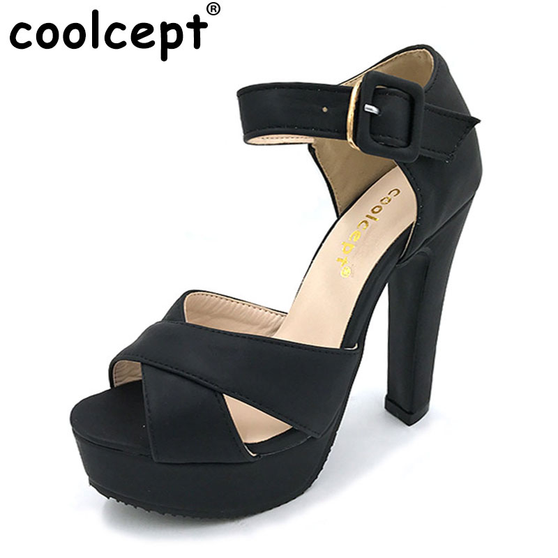 Coolcept Womens High Heel Sandals Peep Toe Ankle Strap Thick Heel Sandals Platform Ladies Shoes Women Footwear Mujer size 32-43