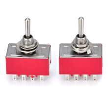 2pcs Mini Switches 4PDT ON/ON Type Switch AC 250V 2A 125V 5A 12 Pin 2 Position MTS-402 Electrical Toggle Switch