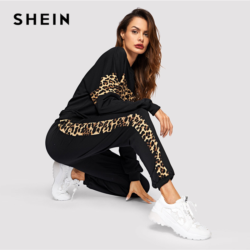 SHEIN Black Leopard Panel Pullover Women O-neck Athleisure Sweatshirt and Sweatpants Set Autumn Women Casual Two Piece Sets 2