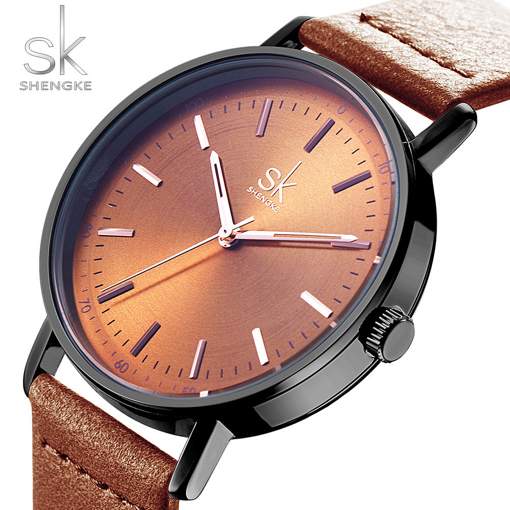 Shengke Fashion Leather Women's Watch 4 Colors Lady Wristwatch Women's Watch Leather Belt Relogio Feminino Montre Femme 2018