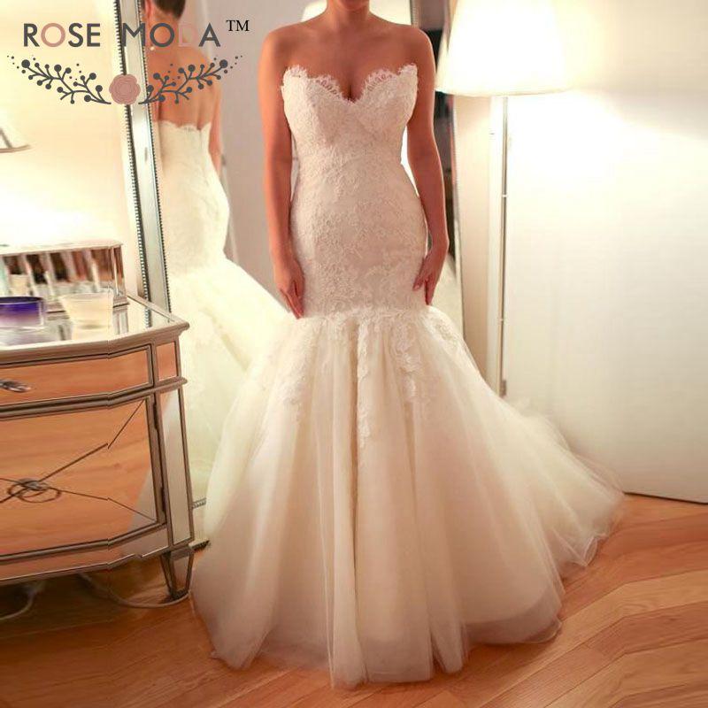 Trumpet Wedding Dresses 2019: Rose Moda Chantilly Lace Trumpet Wedding Dress 2019