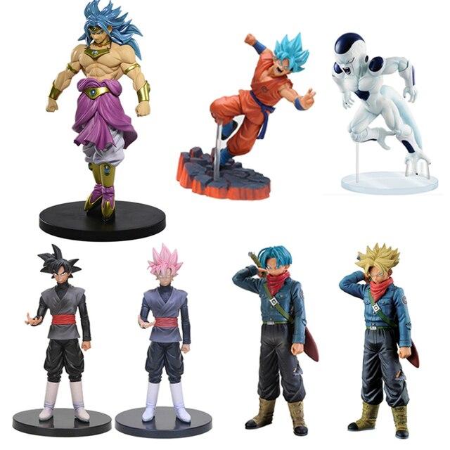 Estilo Hot Figura de Ação Anime Dragon Ball Super Saiyan Deus Goku Frieza Torankusu Brolly Preto PVC Coleção Modelo Toy Kids boneca