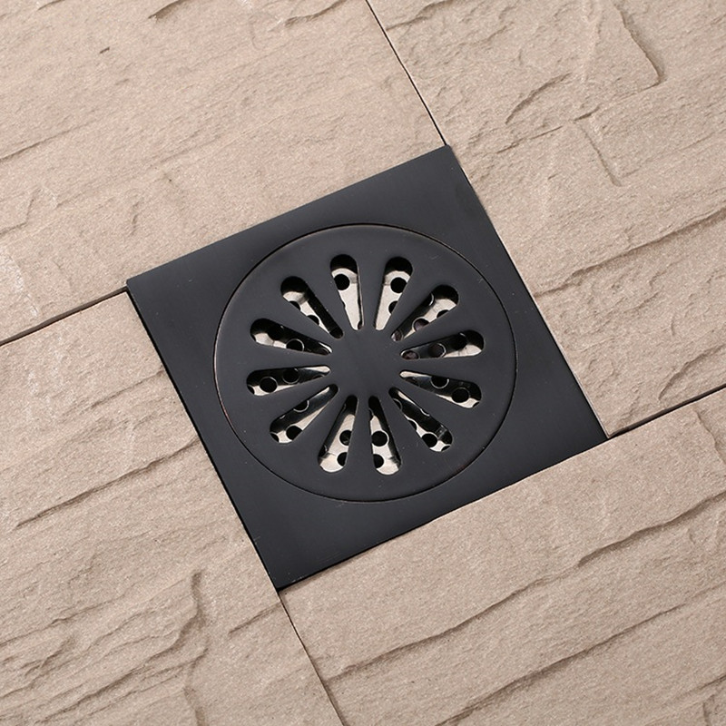 New Arrival Brass Matte Black Square Style Floor Drainer Waste Bathroom Shower Drain