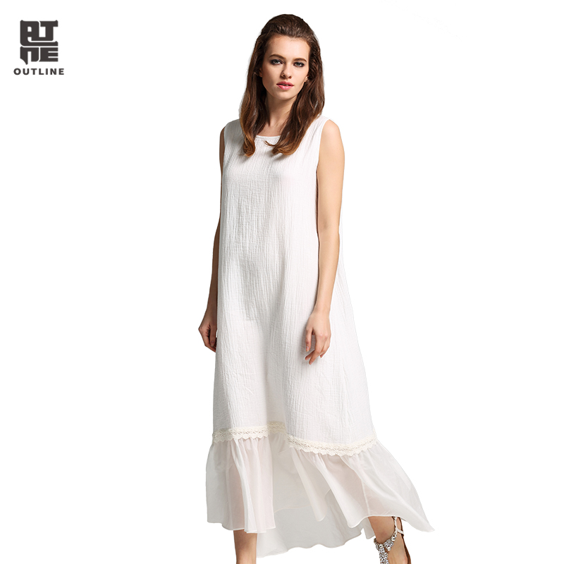Здесь продается  Outline Women White Cotton Maxi dress Vintage Plus Size O-neck Sleeveless Ruffles Loose tank Dresses Summer Vestidos L172Y042  Одежда и аксессуары