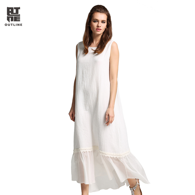 Outline Women White Cotton Maxi dress Vintage Plus Size O neck ...