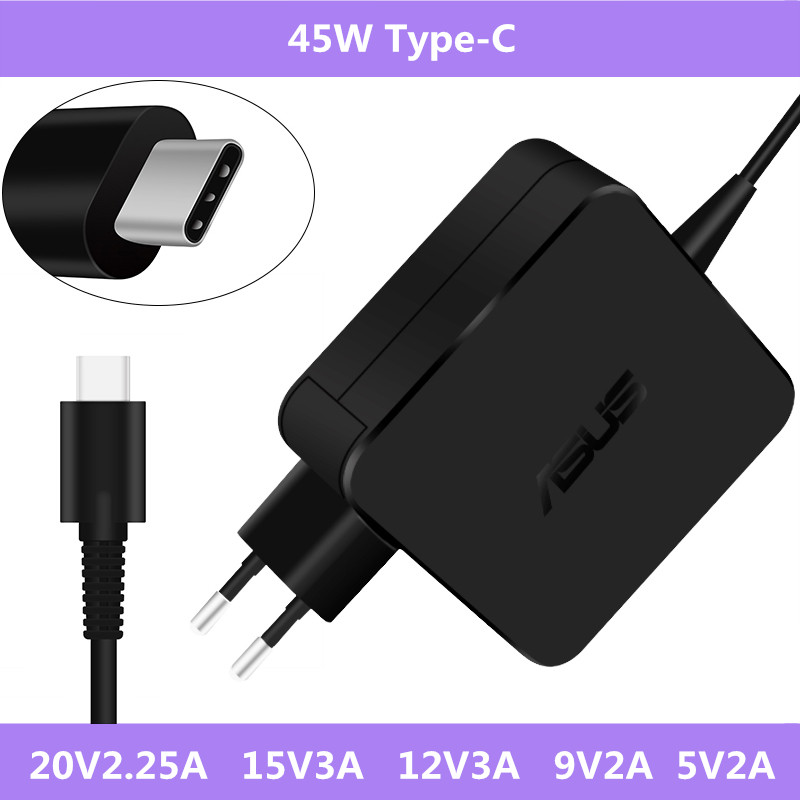 <font><b>20V</b></font> <font><b>2.25A</b></font> 45W USB-C <font><b>Laptop</b></font> AC Adapter <font><b>Power</b></font> Charger For Asus <font><b>Laptop</b></font> Type-C <font><b>Power</b></font> Supply Charger For <font><b>Lenovo</b></font> Universal Type-C image