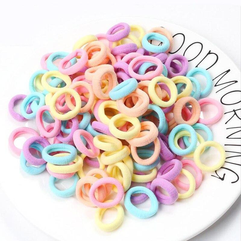 50-100pcs/lot Kids Children  Elastic Hair Bands Fashion Seamless  Diameter Headwear Girls Hair Accessories Gum