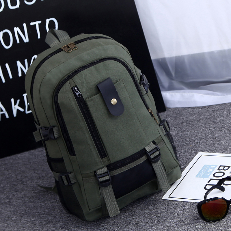 Backpack New Solid Color Personalized Canvas Large Capacity Bag Leisure Travel Backpack in Backpacks from Luggage Bags