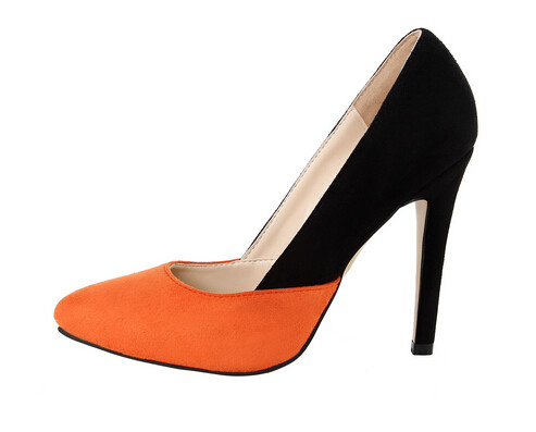 ФОТО Newest Fashion Charming Woman Orange Black Sexy Pumps Pointed Toe Contrast Color High Heels Graceful Female Party Dress Shoes
