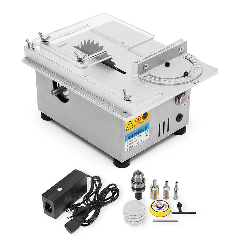 Multifunctional Mini Table Saw Handmade Woodworking Bench Lathe Electric Polisher Grinder DIY Model Cutting Saw Drill