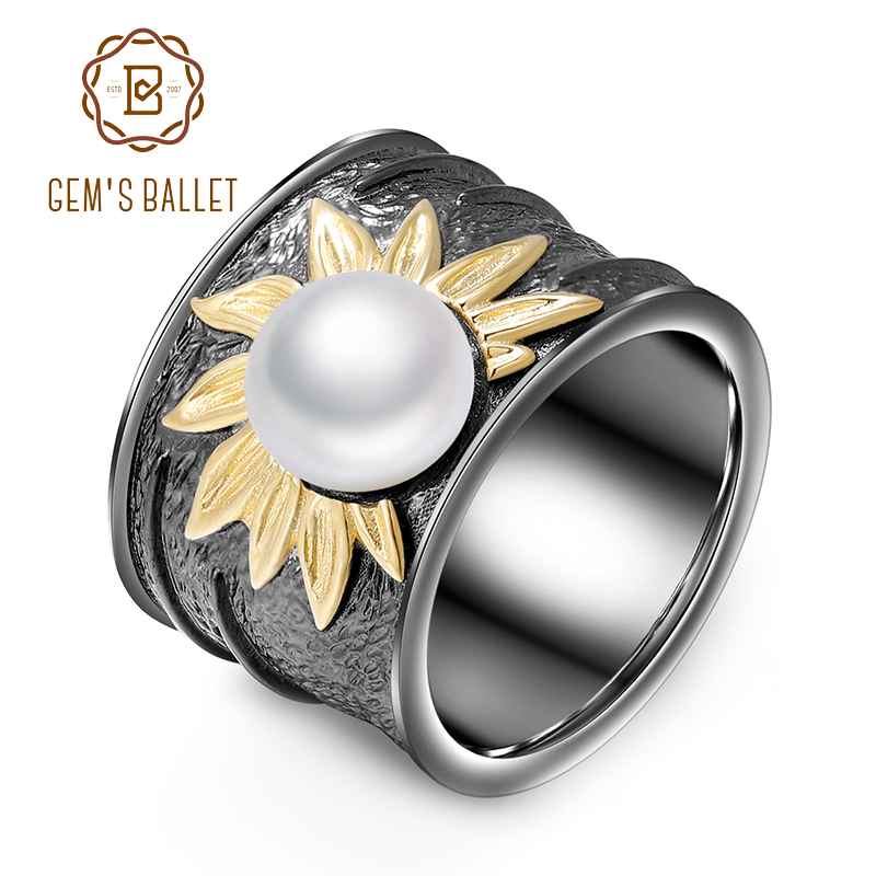 GEM S BALLET Real 925 Sterling Silver Ring Exaggerated Creative Flower Natural Freshwater Pearl Rings For