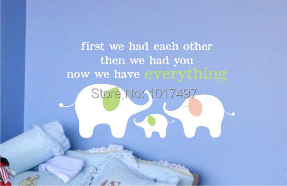 nursery decor elephant family vinyl wall stickers custom color