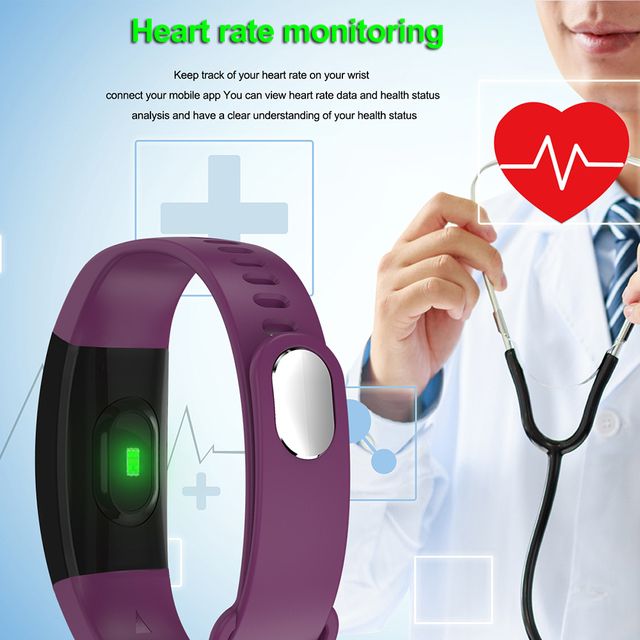 LEMFO Smart Fitness Bracelet Men Color Screen  Blood Pressure Heart Rate Monitor Wristband for Android IOS