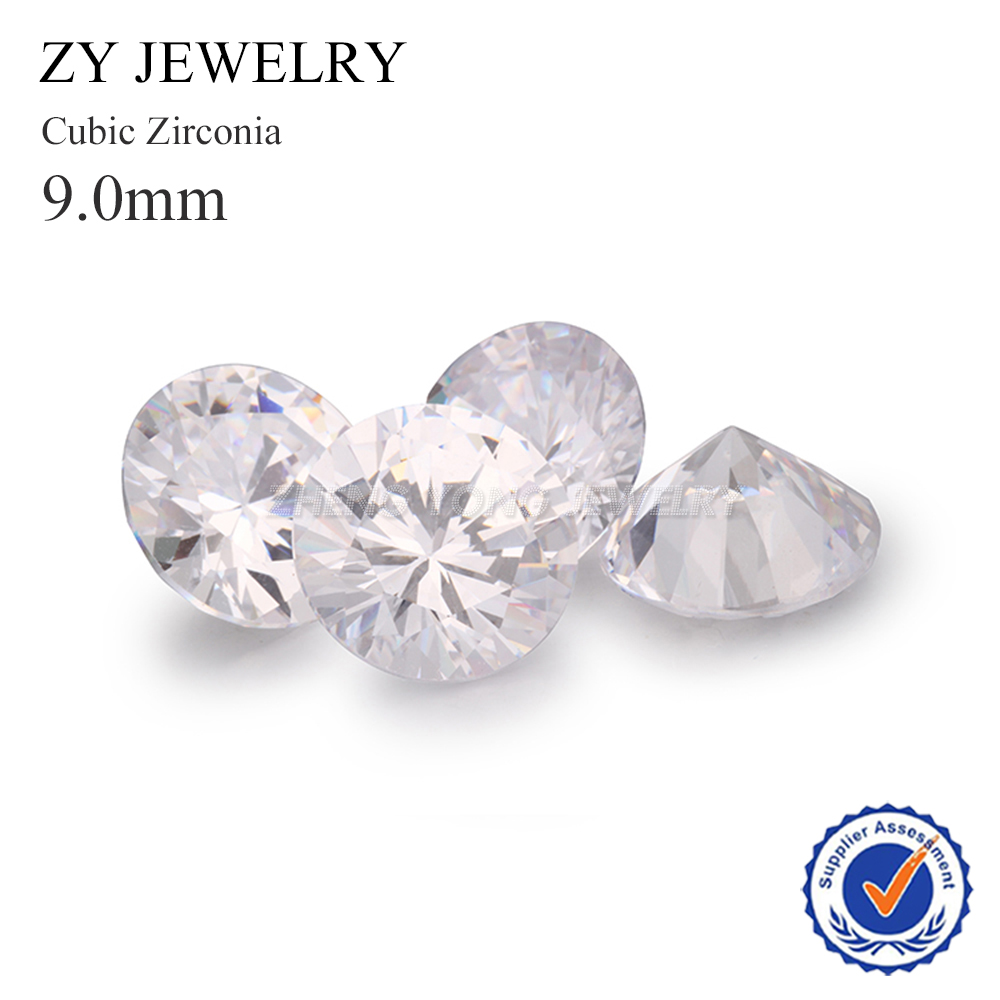 100pcs 9.0mm Loose Synthetic Cubic Zirconia CZ Beads Round Brilliant Cut White Cubic Zirconia Stone For Jewelry
