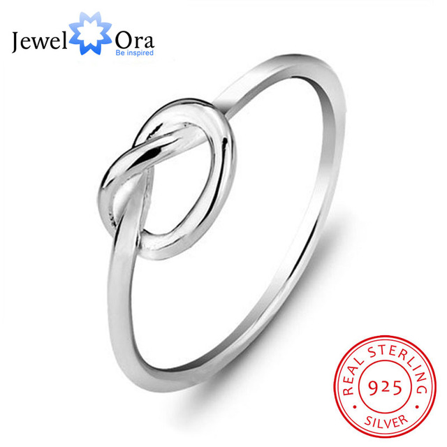 Genuine 925 Sterling Silver Best Gifts For Girl Women Jewelry Bands Knot Ring Bi