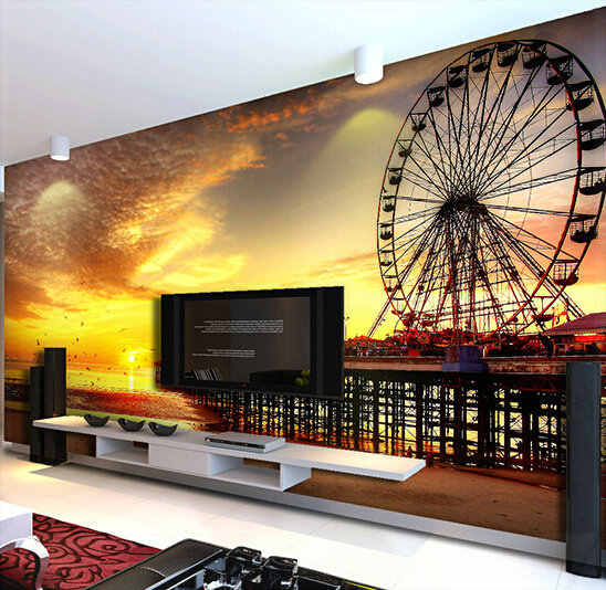 Custom any size 3d wall mural wallpapers realistic ferris for Custom size wall mural