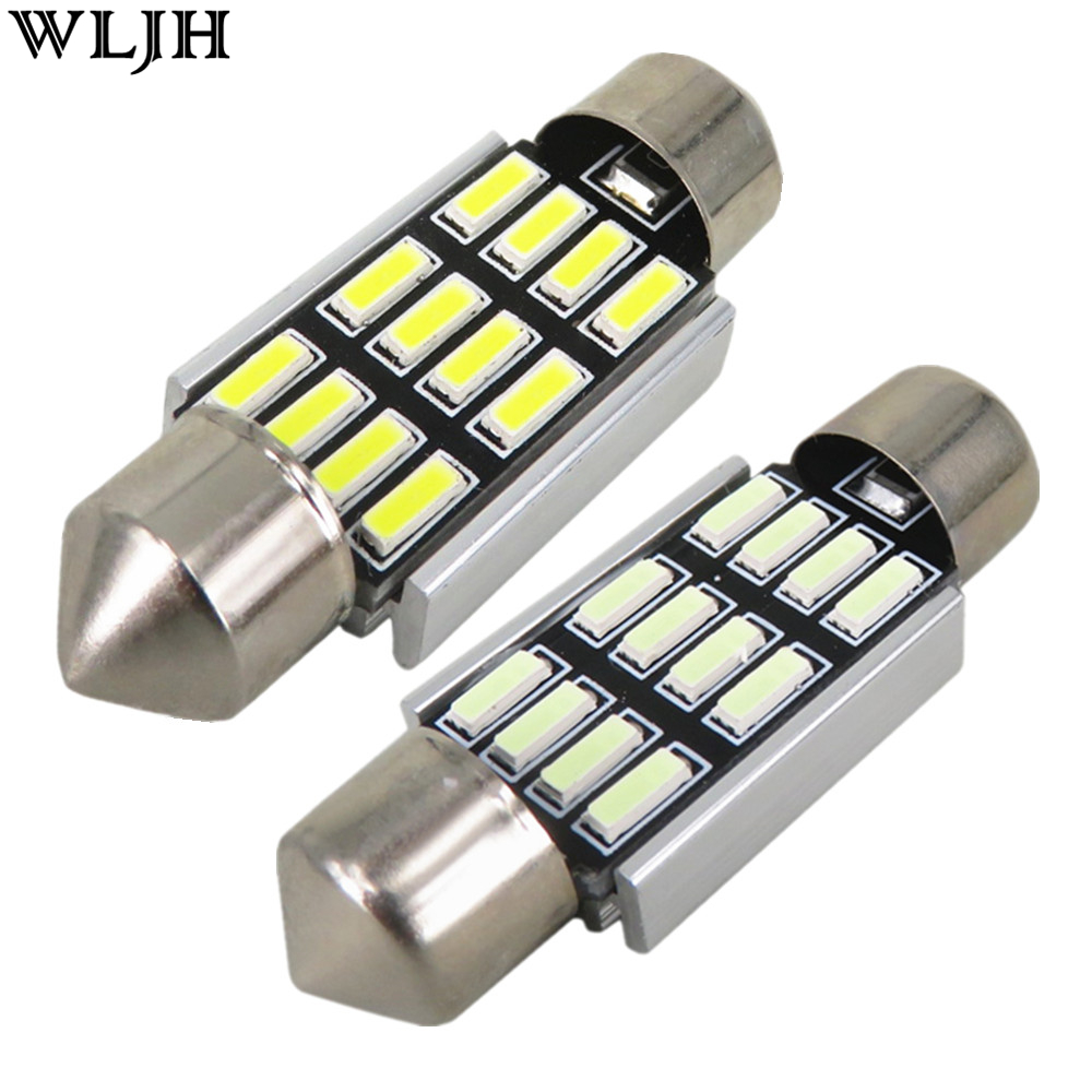 Wljh 4x Canbus 36mm Car Led 4014 Auto Lamp Bulb License Plate Light Bulbs For Audi A4 A5 A6 A7