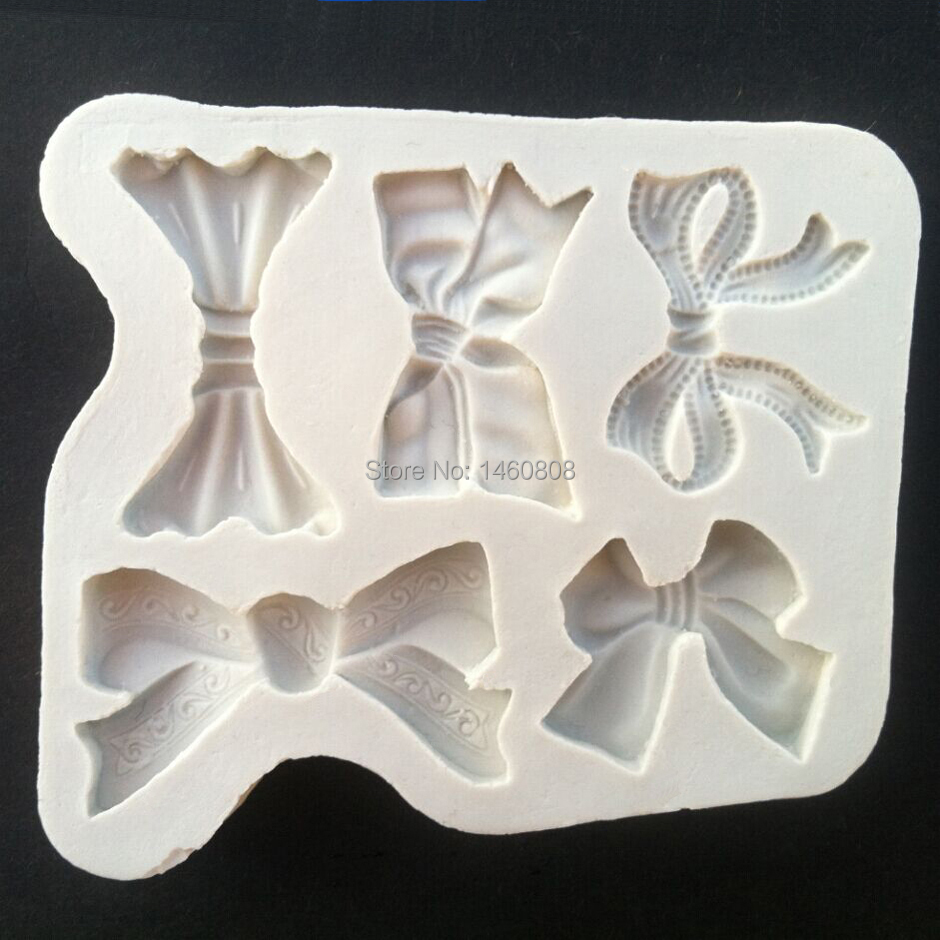 Wholesale 10 Pcs Bows Silicone Sugarcraft Moulds, Fondant Cake Decorating Tools