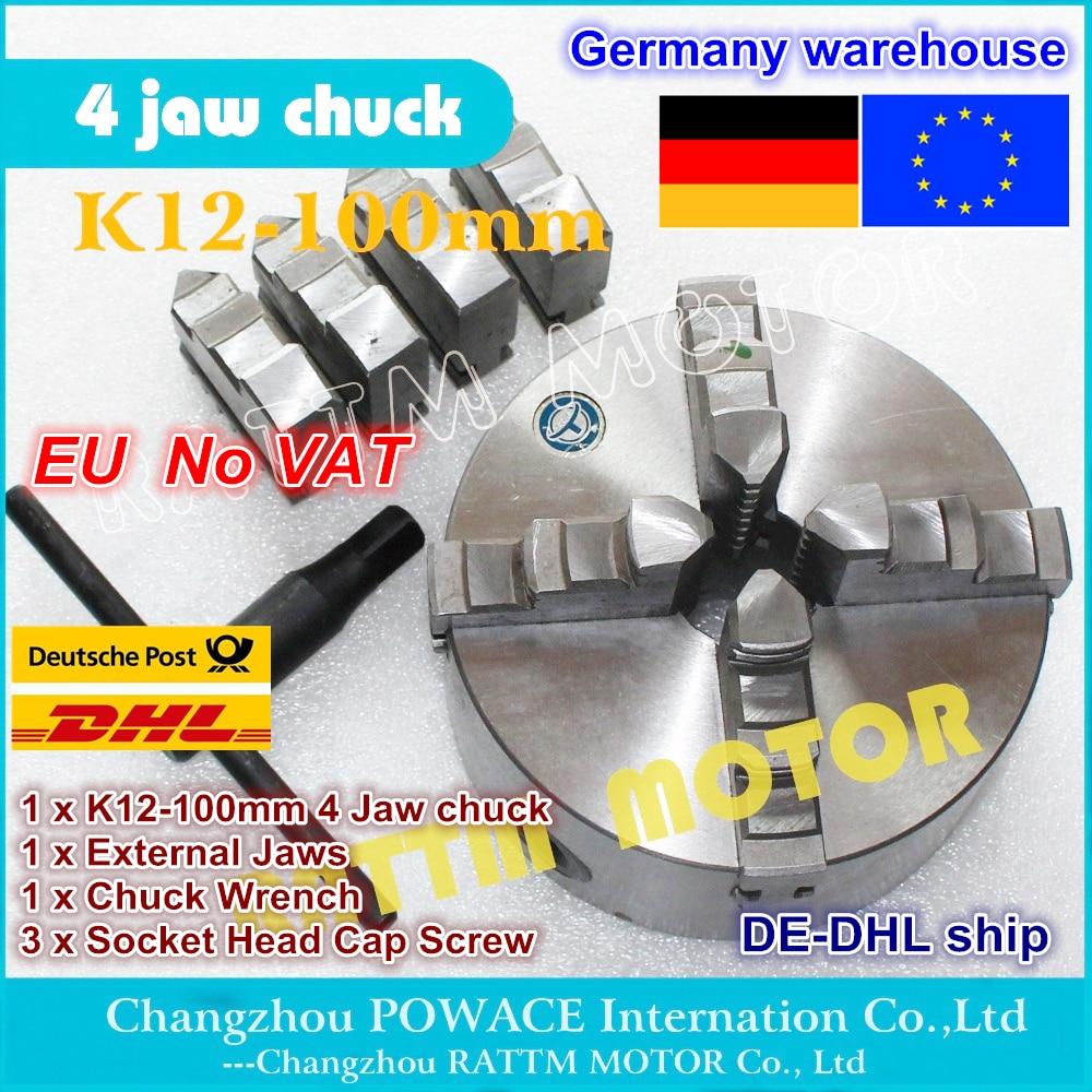 DE ship free VAT K12 100mm 4 jaw self centering chuck Manual chuck Four 4 jaw