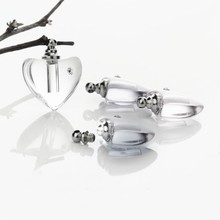 50pieces screw cap 19*19mm clear heart Crystal Vials pendant perfume vial bottle fashion necklace pendant name on rice art
