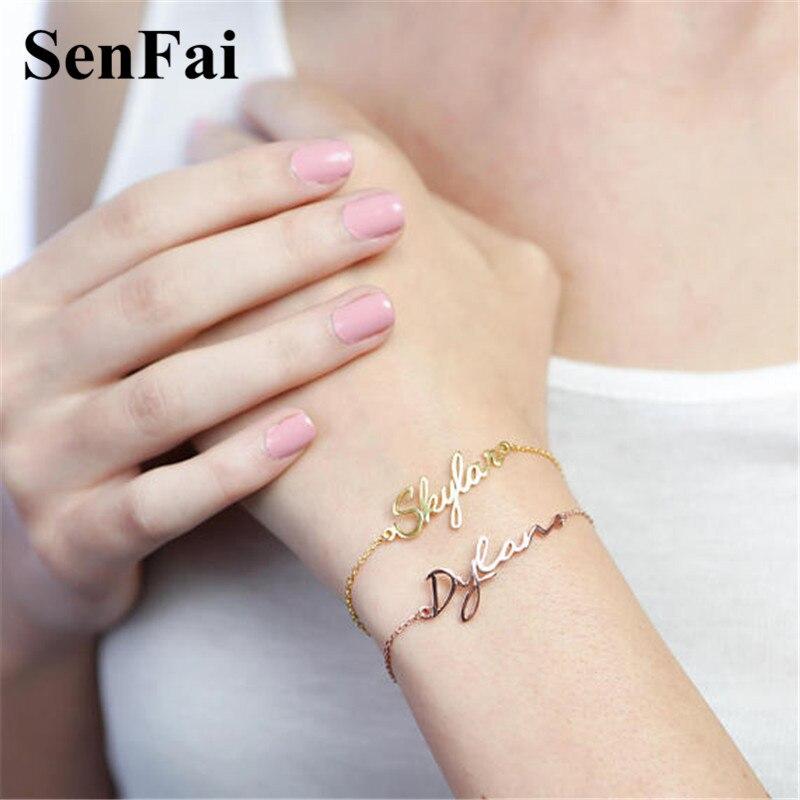 Senfai Main Personnalisé Nom Bracelets pour femmes hommes bébé Son et son N'importe Quelle Police Nom zodiaque Mignon Manchette Bracelets Bracelets bijoux