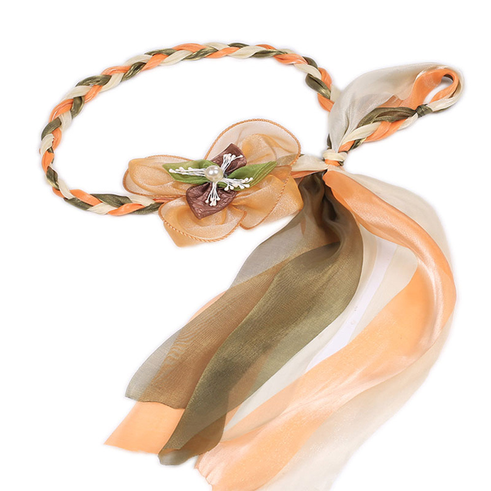 Beautiful cheap Women Fashion Folk-Custom Floral Ribbon Braided Multi-purpose Waist Belt woman belts for dress cinto feminino
