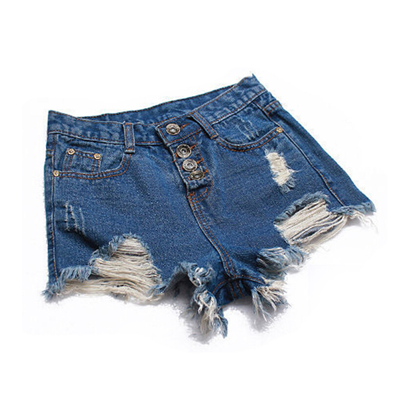 Women Denim Shorts 2019 Fashion Ladies Tassel Hole High Waist Summer Short Jeans Sexy Mini Booty Shorts for Woman White Black