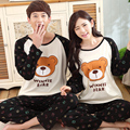 New 2016 Korean fashion lovers cartoon bear pajamas cotton long-sleeved casual tracksuit large size XXXL bear kigurumi pajamas