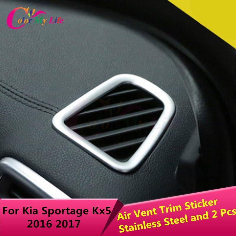 2 st / set Stainless Steel Car Air Vent Circle Trim - Bil interiör tillbehör - Foto 2