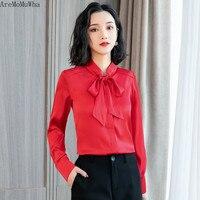 AreMoMuWha 2019 New Korean Chiffon Shirt Long sleeved Satin Shirt Loose Bow Ribbon Shirt Women's Solid Color Women Shirts MH218