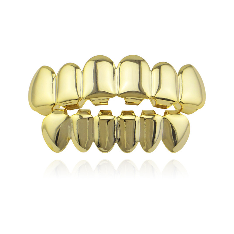 Hip Hop Gold Teeth Grillz Parrillas superior e inferior Boca dental Punk Dientes Gorras Cosplay Fiesta Diente Rapero Regalo de la joyería XHYT1001
