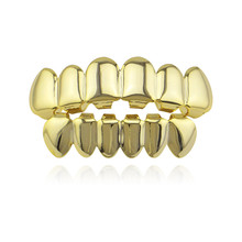 Hip Hop Gold Teeth Grillz Top amp Bottom Grills Dental Mouth Punk Teeth Caps Cosplay Party Tooth Rapper Jewelry Gift XHYT1001 cheap Fashion Body Jewelry Geometric Grillz Dental Grills Metal Copper Hiphop Rock fashion house wife gold silver Top teeth 5cm*1 3cm+ Lower teeth 4cm*1 1cm